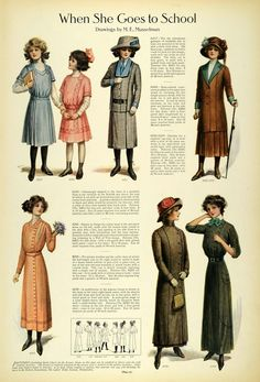 1911 Article Edwardian Fashion Children School Clothes Girls Dresses Accessories - Original Print Article: Home & Kitchen Edwardian Era Fashion, Edwardian Clothing, Edwardian Dress, Edwardian Style, 1900s Fashion, Victorian Dresses, Vintage Clothing, Belle Epoque, Vintage Dresses