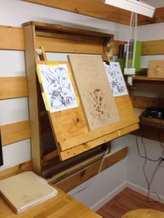 Adjustable drafting table for french cleat system studios d'art, my art studio, Art Studio Design, Art Studio At Home, Home Art, French Cleat System, Drawing Desk, Drawing Board, Artist Drawing Table, Art Studio Organization, Art Storage
