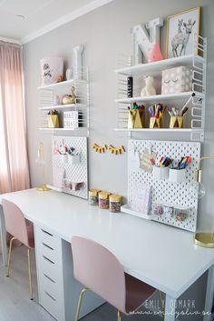 38 Perfect Bedroom Desk Ideas - If need your own personal office space or study area, than adding a desk to your bedroom can give you the desired privacy you are looking for. Bedroom Storage Ideas For Clothes, Bedroom Storage For Small Rooms, Desk For Girls Room, Girl Desk, Ikea Girls Room, Big Girl Rooms, Kids Study Desk, Kids Homework Room, Kids Workspace