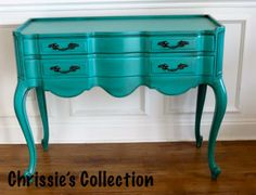 Chrissie's Collection - Custom Painted Furniture. Secretary desk in General Finishes Patina Green with heavy glazing. $275. More pics online at www.chrissiescollection.com