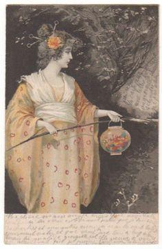 Art Nouveau Woman in Kimono with A Lantern Original Vintage Art Postcard | eBay