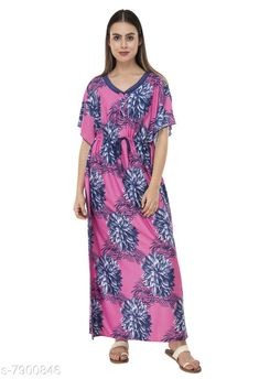 Nightdress Fomti Satin Night Wear Kaftaans for Women's Fabric: Satin Sleeve Length: Short Sleeves Pattern: Printed Multipack: 1 Sizes: Free Size (Bust Size: 44 in Length Size: 60 in)  Country of Origin: India Sizes Available: Free Size, L, XL, XXL   Catalog Rating: ★4.2 (5483)  Catalog Name: Inaaya Alluring Women Nightdresses CatalogID_1298722 C76-SC1044 Code: 182-7900846-998