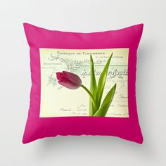 Tulip Throw Pillow by inkedsandra - $20.00