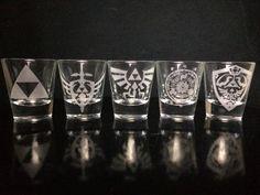 Legend of Zelda Shot Glass Set of 5 by GopherStudios on Etsy