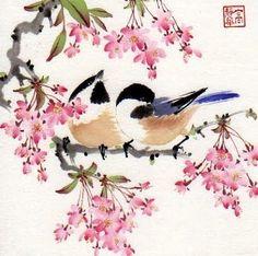 Jinghua Gao Dalia - Brush Magic: After Spring Rain (copyrighted) 2010 Japanese Watercolor, Watercolor Bird, Japanese Art, Watercolor Paintings, Watercolours, Chinese Painting, Chinese Art, Chinese Brush, Animal Paintings