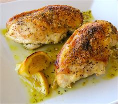Lemon Chicken- Use less butter at bottom of baking dish to make it more healthy
