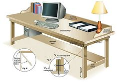 Diagram of Completed Desk from a hollow core door