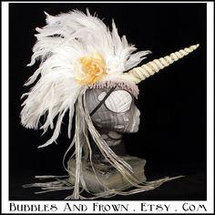 The Last Unicorn... Unicorn Headdress with Feather Mohawk. $196.66, via Etsy.
