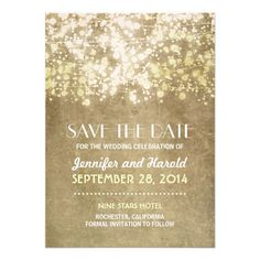 vintage string lights save the date cards for wedding in Paris with golden shimmering glitter accents