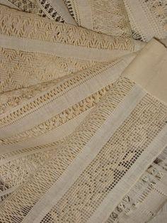 Drawn thread embroidery sampler progress