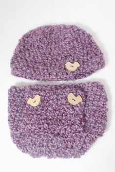 Purple Crocheted Hat and Diaper Cover / Baby Girl / by MeganFallow, $25.00