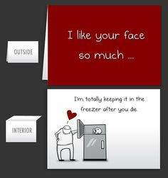 """""""Horrible Cards"""" By The Oatmeal lol! Funny Valentine, Valentine Day Cards, Naughty Valentines, Funny Me, Hilarious, Funny Stuff, Random Stuff, Random Things, Cards"""