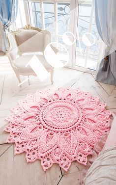Pink crochet rug round area rug 55 in doily rug yarn lace mat nursery carpet girl s room floor decor by lacemats laceulita Crochet Doily Rug, Crochet Rug Patterns, Crochet Carpet, Crochet Tablecloth, Crochet Home, Crochet Flower, Rugs On Carpet, Diy Carpet, Carpet Ideas