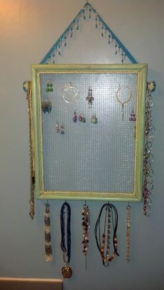 """Handmade """"vintage """" jewelry holder wall art.  Let me know if I can make one for you!"""