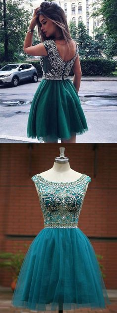 Hot-Selling A-Line Round Neck Green Short Tulle Homecoming Dress