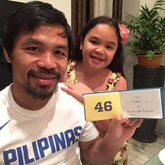 "Spotted: Our What I Love About Dad Journal with world champion professional boxer Manny Pacquiao and his daughter. She writes, ""I am so happy that you are a good husband to mommy."""