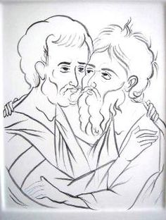 Sts Peter and Andrew Paint Icon, Byzantine Icons, Religious Images, Roman Catholic, Line Drawing, Nativity, Oriental, Creations, Sketches