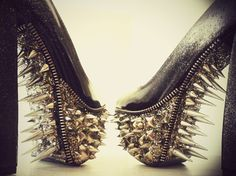 I cannot begin to explain how badly I want these shoes!! Spiked Mulisha Metallic Studded Pumps by kaylastojek on Etsy