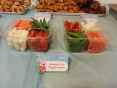 Divertida idea para comida de una celebración de cumpleaños de Peppa Pig. #Peppapig #party