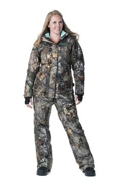 SUPER WARM Insulated Kylie 3-in-1 Women's Hunting Jacket with removable aqua liner and matching hunting bib- Realtree Xtra Camo