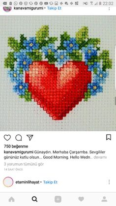 O que que vcs querem que fale sou apaixonada por ponto de Cruź!!!!!!!!!!!!!!!! Mini Cross Stitch, Cross Stitch Heart, Cross Stitch Flowers, Funny Cross Stitch Patterns, Cross Stitch Designs, Cross Stitching, Cross Stitch Embroidery, Christmas Cross, Loom Beading