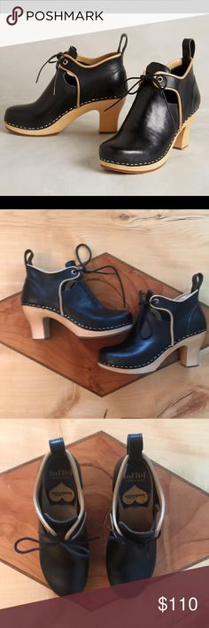 """Anthropologie Swedish Hasbeens Culture Clog Sz 36 Anthropologie Swedish Hasbeens Culture Clog Sz 36. Excellent used condition. Leather upper with laces, wooden soles and heel. Some minimal scratches as shown. Heel is 3"""". No trades, offers welcome! Bundle & save! Anthropologie Shoes Ankle Boots & Booties"""