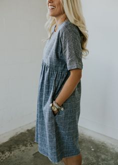 Blue Linen Dress with Pockets | ROOLEE