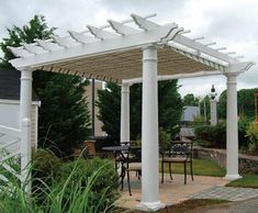 Walpole Extruded Vinyl Shade Pergola Kit from Walpole Outdoors. Browse our large selection of Wood Pergolas, Solid Cellular PVC Pergolas and Hollow Vinyl Pergolas. Steel Pergola, Wood Pergola, Deck With Pergola, Cheap Pergola, Covered Pergola, Backyard Pergola, Pergola Shade, Patio Roof, Pergola Plans