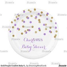 Gold Purple Confetti Baby Shower Plate