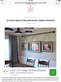 Iron Pipe Family Photo Display Dining Room Ideas Home Decor Repurposing Upcycling Wall