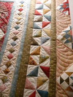Sewing Quilts Beautiful idea for patchwork quilt borders - I love the four-patch-on-point idea, and the pinwheels. (Part of an Eye Candy Pattern, I think. Patchwork Quilting, Quilt Stitching, Scrappy Quilts, Easy Quilts, Longarm Quilting, Free Motion Quilting, Machine Quilting Designs, Quilting Projects, Quilting Ideas