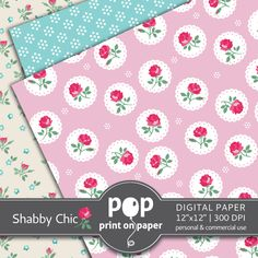 POP print on paper - Digital Paper - Shabby Chic https://www.etsy.com/ca/listing/163597453/shabby-chic-floral-digital-paper-12
