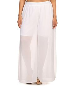 Another great find on #zulily! White Semisheer Palazzo Pants - Plus #zulilyfinds