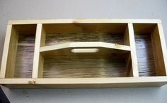 Tool Box, Handcrafted Single Layer Wood Tool Box with Four Compartments.