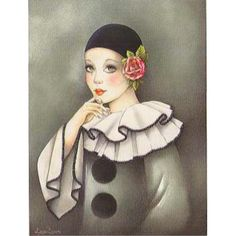 Image - Pierrot triste - 24 x 30 cm Art Deco Illustration, Illustrations, Image Halloween, Clown Paintings, Pierrot Clown, Image Nature Fleurs, Image 3d, Le Clown, Fantasy Life