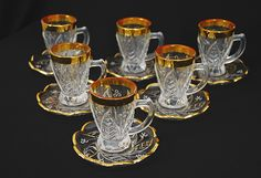 Arabian tea cup set with saucers.  Also would be great for expresso or Turkish coffee.