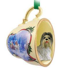 Shih Tzu Mixed Dog Tea Cup Sleigh Decorative Pet Ornament