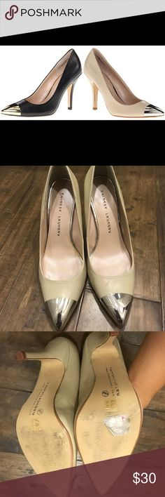 Chinese laundry beige pumps with metal toe Size 8.5. Never worn outside of house - only worn inside to model my posh fashion! Lol. Very comfy heels. Chinese Laundry Shoes Heels