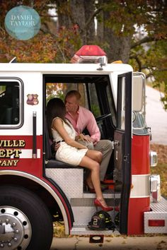 I think I want to marry a firefighter just for this pic! Firefighter Engagement Pictures, Firefighter Wedding, Firefighter Love, Engagement Couple, Fireman Wedding, Engagement Ideas, Engagement Session, Couple Photography, Engagement Photography