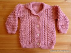 Chaqueta rosa con botones para niña 6-9 meses. Lovely cardigan for baby girl size 6-9 months. Modelo 27. | Tricotar para peques - Knitting for kids Knitting For Kids, Baby Knitting, Knitting Patterns, Knit Crochet, Sweaters, Maria Jose, Fashion, Knit Jacket, Knitting And Crocheting