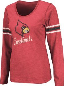 Louisville Cardinals Red Women's Mako Ii Slub Knit Scoop Neck Long Sleeve…