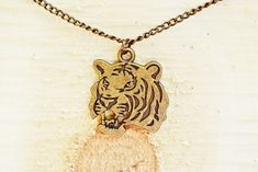 Bronze Tiger Necklace | Tiger Charm Necklace | Tiger Jewelry | Bronze Necklace | Mens Jewelry Simple Necklace, Men Necklace, Gold Necklace, Chinese Tiger, Chinese Zodiac Signs, Bronze, Be Your Own Kind Of Beautiful, Great Birthday Gifts, Spirit Animal
