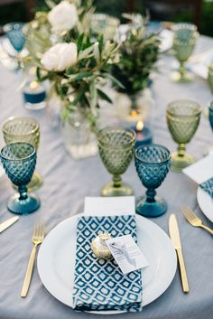 Rustic Blue Wedding Table Setting DIY Centerpiece in teal and olive green from wedding on the Greek island of Santorini destination wedding Wedding Table Themes, Wedding Favor Table, Wedding Table Settings, Wedding Favors, Wedding Reception, Wedding Decorations, Wedding Ideas, Food Table Decorations, Wedding Banners