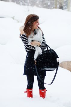 Blogger Brighton the Day spends a snowy day in Vail in her Gap supersoft stripe turtleneck and cold weather accessories. Shop Gap turtlenecks for the cold days ahead!