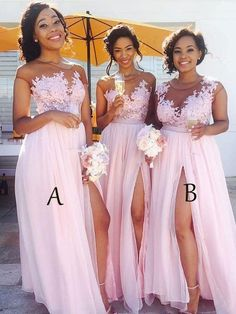 Lace Appliqued Bodice Pink Chiffon Long Bridesmaid Dresses with Slit apd2254