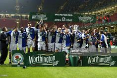 Blackburn Rovers celebrate winning the Worthington Cup Final between Blackburn Rovers and Tottenham Hotspur played at the Millennium Stadium, in Cardiff, Wales. Blackburn Rovers won the match and. Get premium, high resolution news photos at Getty Images Retro Football, Football Team, Tim Flowers, Blackburn Rovers Fc, Millennium Stadium, Tottenham Hotspur, Digital Image, Finals, Cardiff Wales