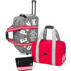 "Nwt vs pink luggage set 3 pieces NWT VS PINK LUGGAGE SET 3 PIECES  WHEELIE  15""H X 22""L X 13""W DUFFLE BAG  12"" X 19""L 10"" W MAKE UP BAG  4""H X 9""L X 4""W IMPORTED COTTON   FIRECRACKER RED   ITEM IS NO LONGER AVAILABLE ONLINE  NO TRADE PINK Victoria's Secret Other"