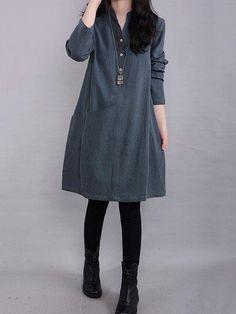 Dark Green H-Line Casual Linen Plain Plus Size Dress
