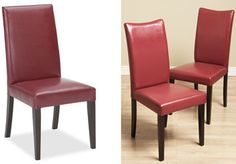 "Pottery Barn Grayson Chair in red leather measuring 19""W x 23""D x 39""H costs $299 plus $29.90 in shipping, totaling out at $328.90. Alternatively, Overstock.com's set of four Shino Bi-cast Leather Chairs in red measuring 17.7""W x 22""L x 38""H only costs $333.99"