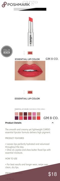 New Arrival~ Cargo Essential Lip ColorPalm Beach Cargo Essential Lip Colorin Palm Beach.  Rich, intense color, lightweight feel, moisturizing and plumping - all in one lipstick!  The smooth, creamy formula delivers high pigment payoff while keeping lips hydrated and voluminous throughout the day.  Brand new - Never used or Swatched Price Firm - Unless Bundled - 10% on 2 or more items No Trades  Thank you for stopping by my closet. Please let me know if you have any questions. ♠️GM Cargo…
